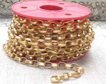 12mm Rounded Rectangle Rolo Chain Matte Gold