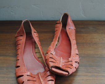 Pretty Frye red leather sandals - slip ons