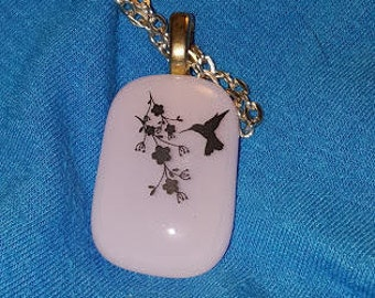 Fused Glass Hummingbird Necklace