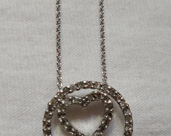 Diamond and Sterling Silver Heart-In-A-Circle Necklace