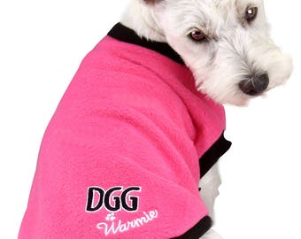 Dog Polar Fleece Jumper Pink Design