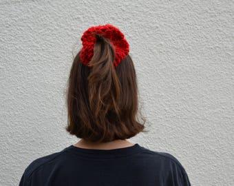 Red Crochet Scrunchie