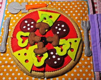 SALE!!!!!!!!!! Surprise FREE* Large PIZZA Quiet Book, personalized quiet book (Children from 3-7 old)