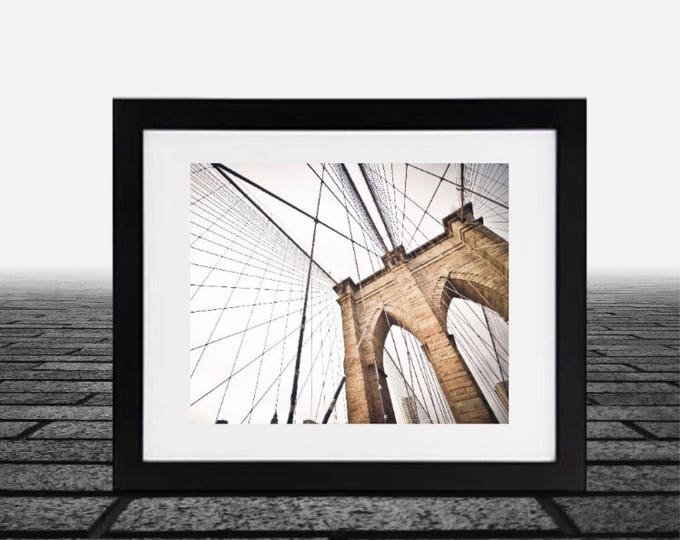 Brooklyn Bridge Framed 14x18 inch, Brooklyn Bridge photo, framed black and white new york photos, New York Print, New York Art New york City