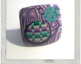 Green and purple graphic ring polymer clay (fimo)