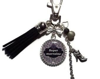 """Keyring - godmother """"Super godmother"""" bag charm/gift / personalized"""