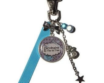 """Keyring / bag gift Secretary """"Secretary at the top of the top / personalized"""""""
