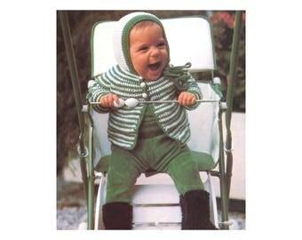 Babies Cardigan & Bonnet Crochet Pattern