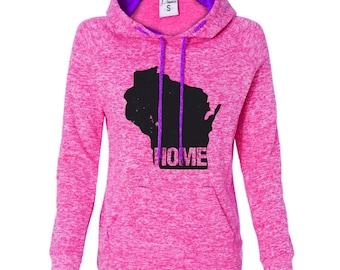 Wisconsin Home Hooded Sweatshirt - Cosmic Contrast Hoody - State Pride - Wisconsin Badgers - Green Bay Packers - Wisconsin is My Home