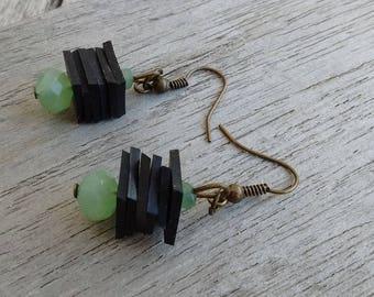 Earrings glass beads and recycled tube - dangling earrings - fancy earrings - green beads