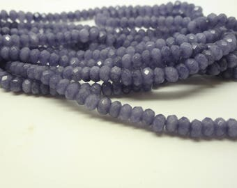 25 jade dyed Purple 2 * 4mm (USPJ05) faceted rondelles beads