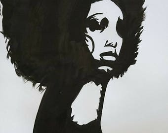 Afro woman in black and white portrait