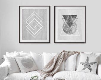 Set of 2 Prints, Geometric Print Set, Printable Instant Download, Modern Minimalist, Scandinavian Print, Abstract Art, Mid Century Modern