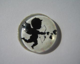Cabochon 20 mm with angels, arrows, hearts pattern