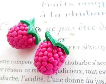 Earrings raspberry clay polymer.