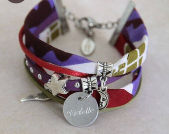 "Fancy bracelet personalized with names ""Grafik"" Wax"
