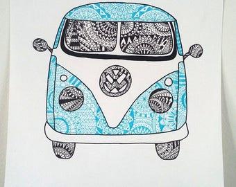 """""""Volkswagen van"""" Illustration poster"""
