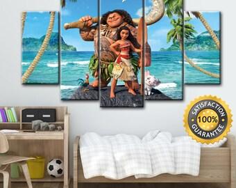 Moana canvas, Moana wall art, Moana Art, Moana print decor, Disney canvas art, Disney wall art, Kids room print, Kids room canvas, Canvas