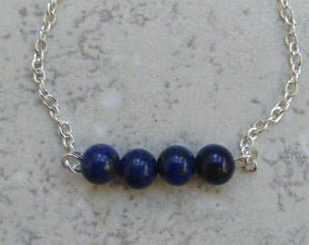 """Bracelet Lapis lazuli and chain silver, hippie chic, Crystal healing, """"trust"""""""