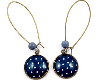 Bronze earrings * cabochon * grey dots on dark blue background