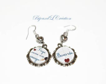 "Earrings ""wise and talkative"" custom teen or child"