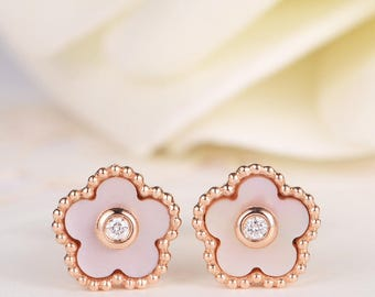 Flower Earrings Diamond Antique Unique Floral Rose Gold Stud Earrings Bezel Set Mother of Pearl Anniversary Gift for Her Women MOP