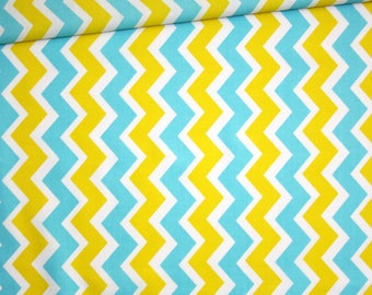 Fabric chevron zig zag, 100% cotton printed 50 x 160 cm, yellow, turquoise and white
