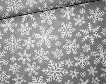 Fabric snowflake, winter, 100% cotton printed 50 x 160 cm, snow white on gray background