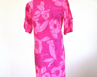 L 60s Hawaii Tiki Dress Mod Floral Print Cotton Pink Mid Century Mad Men Summer Resort Island Girl Large
