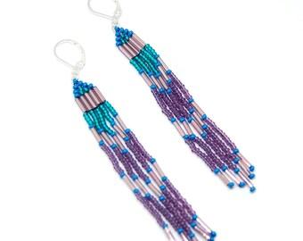 Shaman - Long beaded earrings, purple and turquoise spirit beaded fringe hand woven boho chic