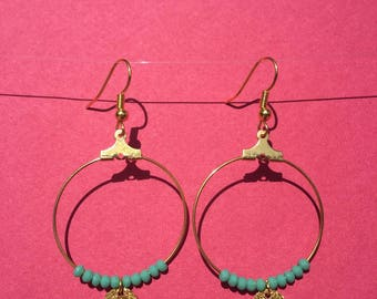 Hoop earrings turquoise and gold
