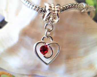1 red Rhinestone Heart charm and silver 25 mm Charms Pendants for Bracelets European large hole 5 mm