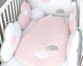 Baby sleeping bag, 6 - 20 months, pale pink, white with grey stars,