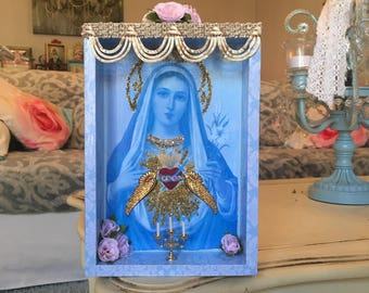 Virgin Mary nicho, shrine, altar, retablo, catholic gift, catholic box, sacred heart, blue box, religious art, shadow box