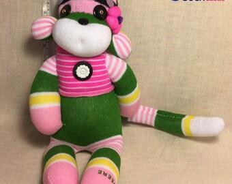 Handmade Artistic Inspirational #9 Charming Sock Monkey Girl in Pink&green Collectable Stuffed Animal Sock Creature Christmas Birthday Gift