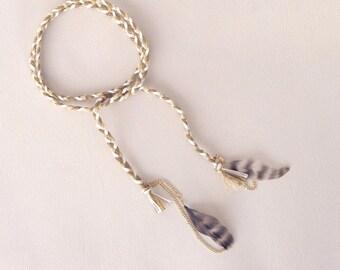 Woven hippie arm bracelet gold white khaki feathers boho Brasilda