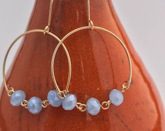 Gold Filled - Wire Earring - Glass Beads - Elegant Earring - Gold Earring -Dangle Earring - Modern Earring - Blue Earring