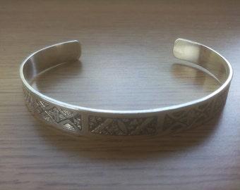 Cross Silver Cuff Bracelet