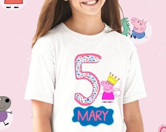 Peppa Pig Birthday Shirt,PEPPA PIG Custom Shirt, Personalized Peppa Pig Shirt,peppa pig family shirts, Birthday t-shirts