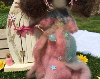 Handmade Pink and Blue Needle Felted Wool Fairy