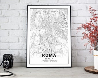 Poster 40 x 50 and 50 x 70 map of Rome (Italy). Ideal plate for decoration or as a gift.