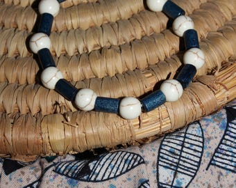 Wood and howlite bracelets