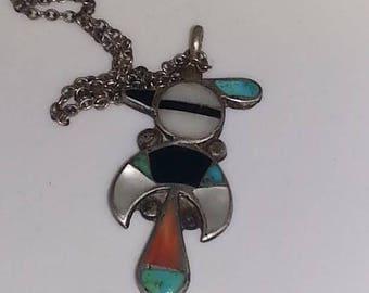 Zuni Thunderbird Turquoise pendant with chain
