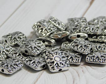 15pcs - 10mm - Sun Beads - Metal Beads - Antique Silver - Silver Beads - Metal Spacer - Spacer Beads - Pewter Beads - (B707)