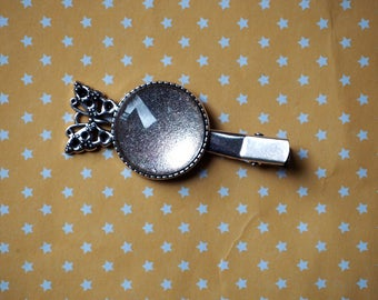 Barrette hair clip, antique silver, butterfly, provided 25mm cabochon round shape