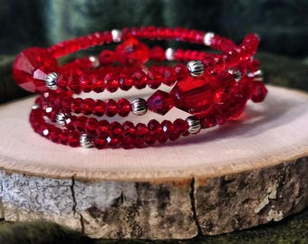 Rich Red Beaded Bracelet