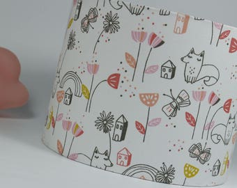 Lampshade baby girl Scandinavian squirrel House butterfly and flower for lamp or pendant