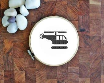 "3"" Helicopter Cross-Stitch Pattern | AIGA Heliport Symbol | Black and White Counted Cross Stitch Pattern | Small X-Stitch"
