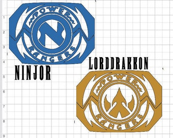 Power Rangers 01 - 5 inch Mighty Morphing Power Rangers Morpher Power Coin Ninjetti/Thunderzord/Lord Drakkon Lightning Bolt Decal
