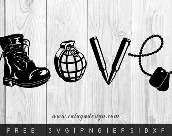FREE SVG & PNG Link | Love army Cut Files, svg, png, dxf, eps | Commercial Use | circuit, cameo silhouette | Army Cut File